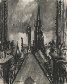 David Bomberg ~ Spires and Towers, Notre Dame de Paris, 1953 (charcoal)