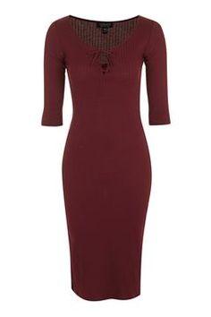 Lace Up Midi Bodycon Dress