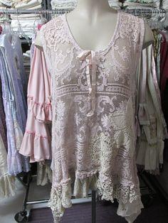 Vintage Kitty.. needle lace hand dyed tunic. door sistersroseandruby