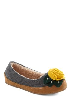 Lady of the Flower Slipper - Grey, Solid, Flower, Flat, Rustic, Winter, Holiday Sale, Yellow, Green