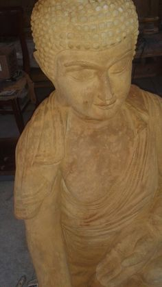 """Life size Buddha in the  """"Gesture of Protection""""  abhaya-mudrâ"""" Ancient red stain. $450."""