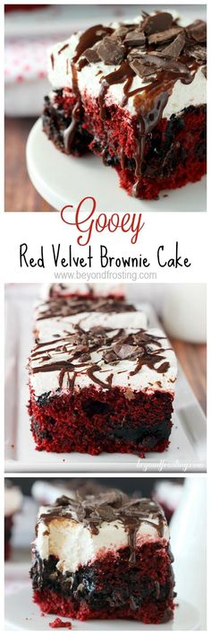 Delicious and EASY. Gooey Red Velvet Brownie Cake is seriously moutherwating. It's a classic red velvet cake mixed with a brownie. It's topped with a white chocolate cream cheese frosting. This is the best red velvet poke cake you've ever seen. Brownie Desserts, Mini Desserts, Just Desserts, Delicious Desserts, Dessert Recipes, Holiday Desserts, Cupcake Recipes, Gourmet Cupcakes, Cheesecake Brownies