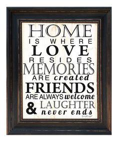 'Home' Framed Wall Art.