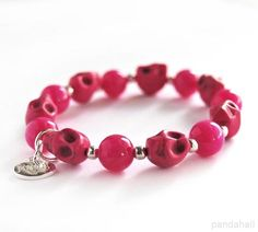 Fuschia jade & skull bracelet