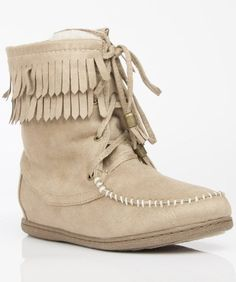 Soda Tying-S Vegan Suede High Top Fringe Round Toe Lace Up Moccasin Boots