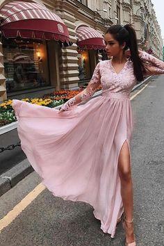 A-Line V-Neck Long Sleeves White Floor Length Prom/Wedding Dress – Okdresses Best Prom Dresses, Prom Dresses Long With Sleeves, Elegant Prom Dresses, Long Prom Gowns, Pink Prom Dresses, Plus Size Prom Dresses, Beautiful Prom Dresses, Popular Dresses, Cheap Prom Dresses