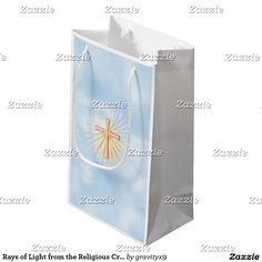 Rays of Light from the Religious Cross (W/Clouds) Small Gift Bag #Easter #Gravityx9 #Zazzle -