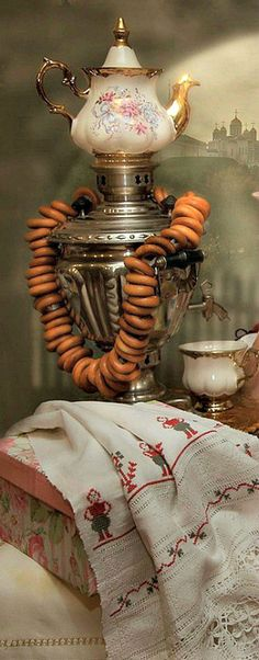 traditional Russian tea set - samovar with tea pot on top