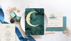 Gilded Swan Paperie is the source for vintage inspired wedding invitations. Featuring Art Deco wedding invitations, Art Nouveau wedding invitations, destination wedding invitations and so much more. Vintage wedding stationery never looked so unique! Vintage Wedding Stationery, Art Deco Wedding Invitations, Destination Wedding Invitations, Custom Invitations, Star Wedding, Blue Wedding, Celestial Wedding, Invitation Set, Moon