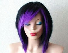 short straight black wig with purple tips