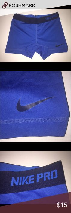 💙 Blue Nike Pros 💙 These Nike Pros have been lightly worn and contain no rips/tears, stains, or stretching! From a smoke free home:) Nike Shorts