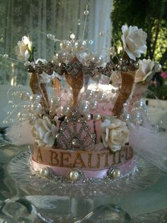 Cinderella's crown - baubles, ribbons, fabric, glitter, etc...