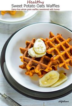 Whole Grain Oats and scrumptious Sweet Potato meet unsweetened Almond Milk and a touch of honey in these dairy-free, healthy and heart healthy breakfast waffles. Oh, and these waffles are real good...