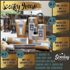 Our Scentsy Groom range is a fabulous way to spoil that special man in your life (and you too he is going to smell de-vine.)  Help him to enjoy his daily ritual with high-performance multi-functional skincare and shave products designed to elevate every stage of the grooming process with modern masculine fragrance.   Cream Shave Soap - Richly cushions for daily cleansing a precision shave and irritation-free skin. A fuss-free experience for fuzz-free skin.  Refreshing Face Balm - Dispel…