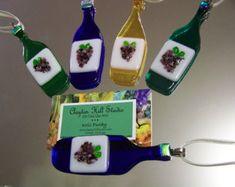 Christmas Ornament Fused Glass Dichroic Tree por chneos en Etsy