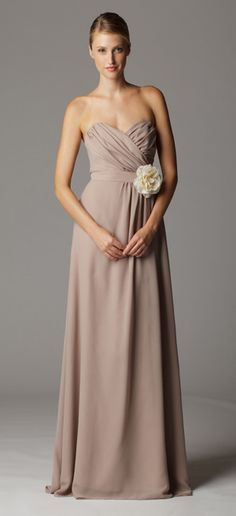 Gathered strapless sweetheart bridesmaid dress with built in waistband.  Ariadress.com