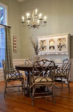 My dining room with my new silver bamboo chairs and white painted hutch