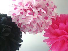 3+Tissue+Paper+PomsAnniversary+/+Graduation+/+by+FiestaPomPom,+$12.00