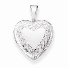 "NEW STERLING SILVER TWISTED BORDER HEART LOCKET 1.27g PENDANT .50"" X .50"" #Locket"