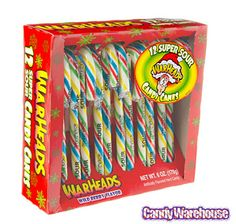WarHeads Super Sour Candy Canes: 12-Piece Box