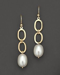 14 Kt. Yellow Gold Link And Freshwater Pearl Drop Earrings_0