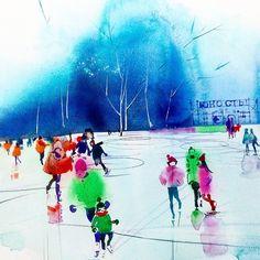 """Сегодня """"юность"""" обрела хозяйку).@elenaalpeeva Работа поедет в Москву. Приятно!Спасибо! Публикую напоследок эпизод картины. Доброго вечера! #watercolor #aguarela #graphic #waterblog #painting #artblog #artist #sketch #artwork #purple #акварель #коновалованаталия"""