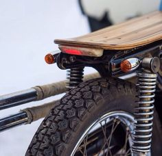 motorcycle seat with wood -