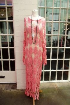 1930s silk crochet dress