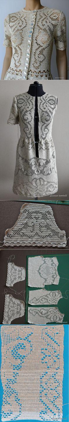 Красивое платье крючком филейной вязкой | CROCHET | Postila