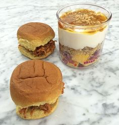 Easy lunch box ideas: barbecue pulled pork sliders; and a yogurt parfait. http://www.LunchBoxBlues.com