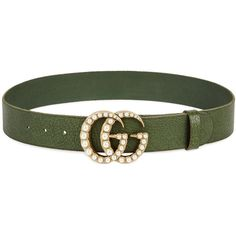 Gucci Green Faux Pearl-embellished Leather Belt (€445) ❤ liked on Polyvore featuring accessories, belts, green studded belt, leather belt, studded leather belt, green belt and gucci