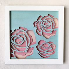 Framed Multi Layer Roses Cut Paper Wall Art by hvansick on Etsy