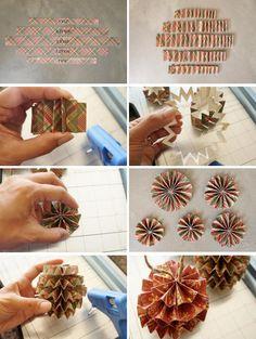DIY napad a navod na vianocne papierove ozdoby gule z papiera postup