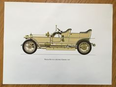 ROLLS ROYCE 1907 - antique classic car print -  original vintage lithograph printed in the 1960's by antiqueprintstore on Etsy