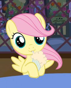 Filly/Cute Fluttershy with her drink