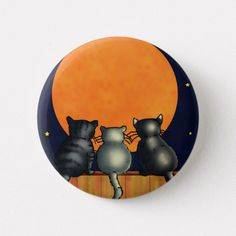 Halloween Cats Watch the Moon - Vintage Style Button - Black Cat City! Halloween Artwork, Halloween Rocks, Halloween Painting, Halloween Cat, Halloween Ornaments, Halloween Pumpkins, Halloween Ideas, Halloween Decorations, Witch Painting