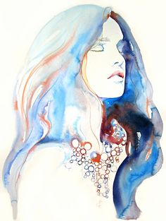 Watercolour Fashion Illustration, Cate Parr, Print of watercolor painting, titled - Natalia 3 Watercolor Portraits, Watercolor Paintings, Watercolour Hair, Watercolor Paper, Abstract Watercolor, Painting Art, Watercolors, Art Et Illustration, Jewelry Illustration