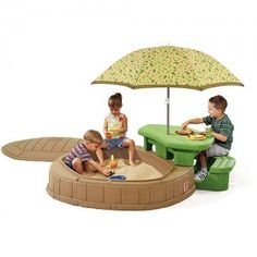 Step2 Naturally Playful Summertime Play center-Give your kids a place to enjoy summertime outdoors-in a playhouse right in your own backyard! This Playcenter features a built-in sandbox, a 5′ umbrella to protect children from the sun's harmful UV rays & built-in picnic table for up to four children.    Sandbox holds up to 200 lbs. of sand (not included) Includes a lid to keep debris out of sandbox.Also includes 2 shovels and 2 pots. $149 MORE INFO…