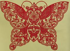 Chinese paper cut art. Available for sale at: http://www.chinaartworld.com.cn/119-Chinese+Paper+Cut+-+Butterfly.html