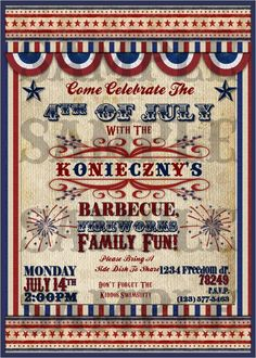 Vintage 4th Of July Invitation