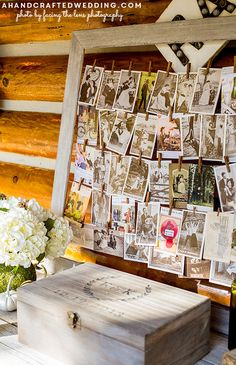 LOVE this idea for a wedding guestbook! How to create a DIY Yarn Clothespin Frame using thumbtacks from ahandcraftedwedding.com