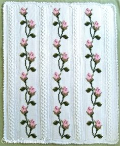 Плед с вышивкой. Тунисское вязание.