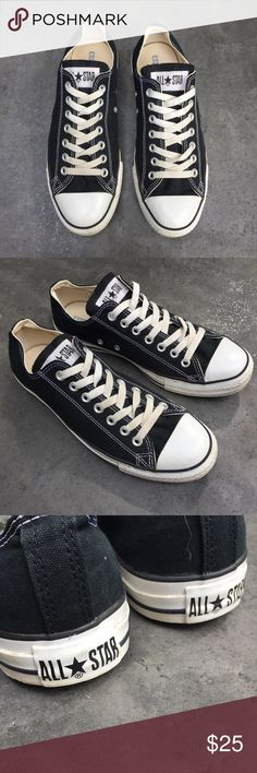 Classic black converse shoes Classic black low top Converse Chuck Taylors. Size 8.5 men's and 10.5 women's. Some dirt on the rubber and a bit of discoloration of the laces. Converse Shoes Sneakers