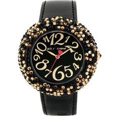 Betsey Johnson Black Band Leopard Pave Watch (1.745 ARS) ❤ liked on Polyvore featuring jewelry, watches, black, bezel jewelry, black jewelry, water resistant watches, black face watches and leopard jewelry