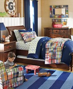 Oliver's Nursery Inspiration- navy, alligators, and madras. Makes my heart smile!