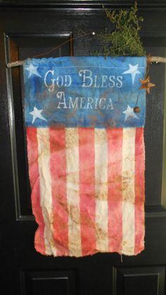 God Bless America Banner by DownOnCrippleCreek on Etsy, $18.00