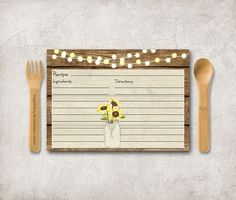 Rustic Recipe Card Printable Digital File 5x7  by tranquillina