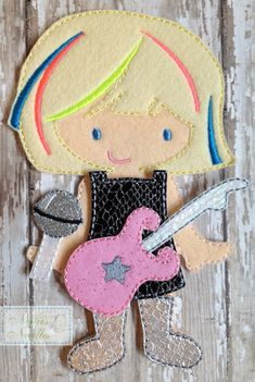 Sheena, The Queen of Rock: Felt  Girl Doll Rock Star Outfit with accessories