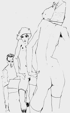 EGON SCHIELE _1910 autoportrait avec nu devant le miroir, déssiné au crayon