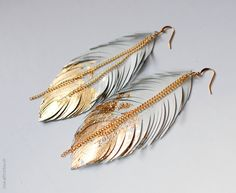 Feather Earrings, Gold Dipped Feather in White Leather, Bohemian Statement Leather Earrings, Boho Wedding Jewelry, Dangle Fringe Earrings Feather Jewelry, Feather Earrings, Gold Earrings, Fringe Earrings, Diy Earrings, Earrings Handmade, Chain Earrings, Leaf Earrings, Bridal Earrings